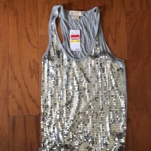 Michael Kors Silver Sequined Top